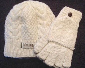 Hand Knit Alpaca Lined Beanie-Style Hat and Hand Knit Hooded Fingerless Gloves. Perfect as Texting gloves - Warm in Winter! Alpaca Gloves