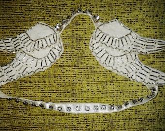 Diamante Angel Wing Head band - Ivory