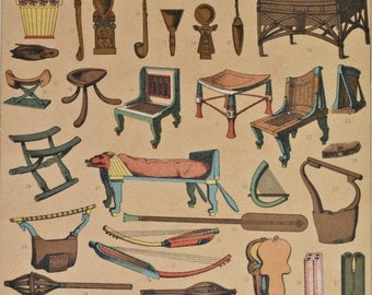 Egypt utensils. Ancient History. Antique print,1894.  122 years old print.  11,5 x 8,4 inches.