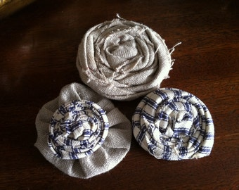 Rustic ticking and linen rosettes weddings decorative flower