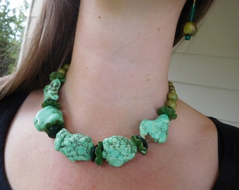 Chunky Statement Necklace in fabulous Greens. Some unique vintage beads included and repurposed in this piece.