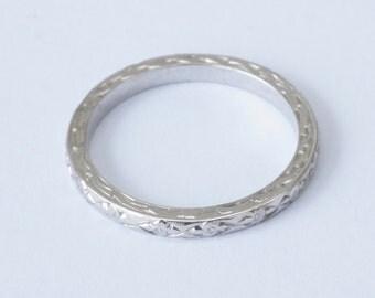 Antique Art Deco 18k White Gold Wedding Stacking Band Ring Size 6