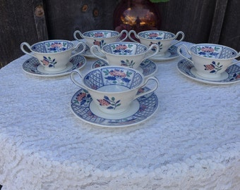 """SALE! Org 120.00 VTG """"Wedgwood  Cheadle"""" set of 6 Bouillon Bowls and Saucers"""