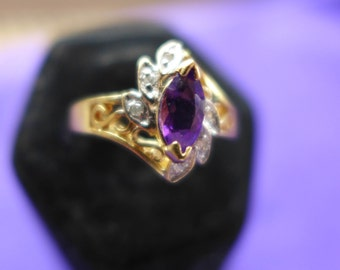 Ladies Vintage Estate Ring Solid Gold 14KT Diamond Chips  with Amethyst  SZ-7.5