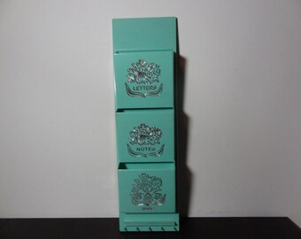 Vintage Teal or Robins Egg Blue Plastic 3 Pocket Mail Wall Organizer With a Silver Floral Design - Shabby Chic Or Farmhouse Style
