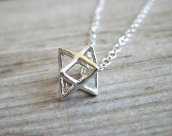 Silver Star of David Necklace , Magen David , Merkaba necklace , 925 Silver Kabbalah Necklace , Dainty Silver Necklace