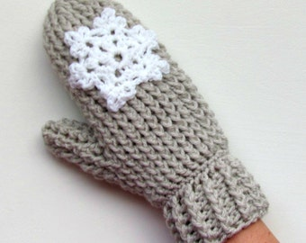 Crochet Pattern Cable Stitch Mittens Ladies teens knitted look knit gender neutral thisck quick warm Snowflake Mitten Pdf Download printable