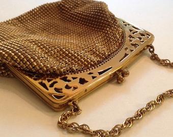 Whiting and Davis Raised Bead Mesh Lipstick Bag, Collectible Vintage Gold Mesh Purse, Metallic Bead Evening Bag, Fashion Micro Mesh Handbag