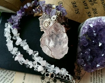 Soulmate || Genuine Amethyst,Rose Quartz & Quartz crystal necklace handmade,.925 silver,heart,third eye,crown chakra