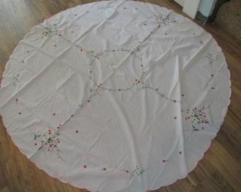 Vintage Christmas Dinner Table Cloth Flower Embroidered 65""