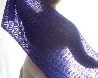 Blue Knit Lace Shawl, Angora Shawl, ChristmasInJuly, CIJ, Beaded Shawl, Wedding Shawl, Bridal Shawl, Lace Shawl, Knit Shawl, Evening Shawl
