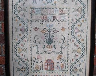 "Embroidery Sampler, Framed 18 x 24"""