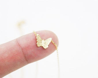 Tiny Butterfly Charm with Silver Chain Necklace . Simple and Dainty Necklace.