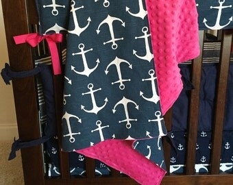 Anchor Blanket with Pink minky dot, Navy blue and Pink baby blanket, Nautical girl nursery blanket