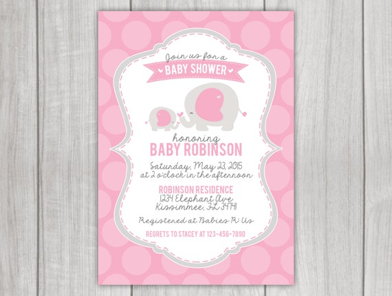 elephant themed baby shower invitation by little rainbow blooms