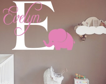 Custom Baby Girl Name - Nursery Wall decal - Cute Elephant wall decal - Personalized Name Monogram - Bedroom Nursery Initial Playroom