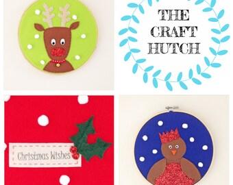 Christmas Kit, Craft Kit, Christmas Craft, Christmas Decoration, Hoops Kit, Sew Your Own Kit, Reindeer Kit, Robin Kit, Handmade Christmas
