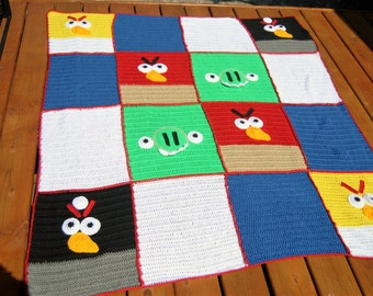 Angry Birds Afghan, Blanket, Throw hand Crochet