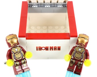 Handmade Novelty Superhero Ironman Cufflinks with Lego Bricks Box