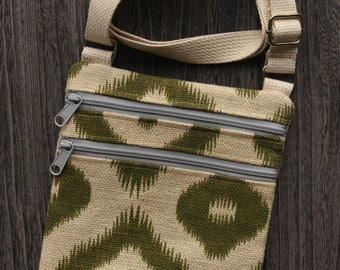 Burlap Ivory and Olive Green Ikat Cross Body Purse
