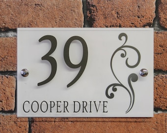 Modern Decorative House Address Sign With Swirl Design, Door Plaque, House  Number Sign,