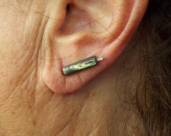 Abalone Tube Bead Ear Pins