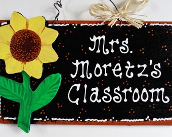Personalized SUNFLOWER TEACHER SIGN School Name Plaque Wall Decor Aide Handcrafted Handpainted