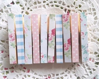 Vintage Shabby Chic Floral Set of 10 Wooden Pegs Polaroid Wedding Baby Shower Polka Dot Gingham Home Decor Office