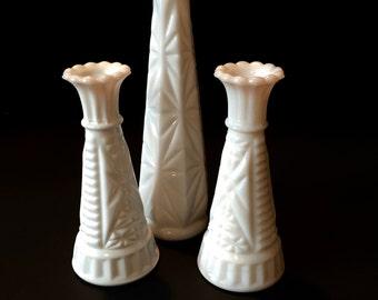 Milk Glass Bud Vase Set...Milk Glass Bud Vases