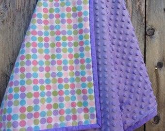 Baby girl pastel polka dot blanket - flannel baby girl blanket - baby shower gift - minky baby blanket