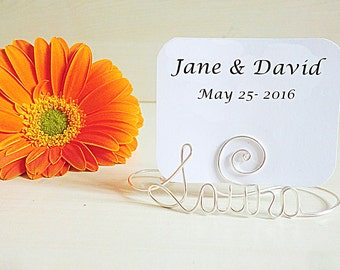Set of 10 pcs. Personalized name, silver wire place card holder, photo holder, custom name placeholder