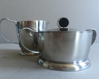 Mid-Century SWEDISH Sugar Bowl and Creamer | Stainless Steel 18 Gense 8 | Made in Sweden