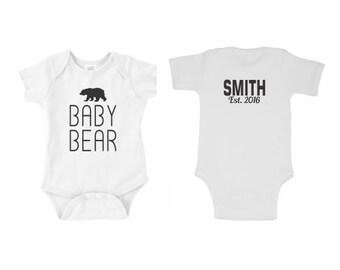 Personalized Baby Bear Onesie Bodysuit T-Shirt, Infant Shirt, Custom New Born Birthday Gift Ideas Tshirt Red Hot Pink Lime Blue