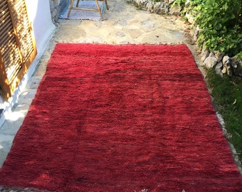 Red Hand woven carpet tapestry berbere rug  from BAJAAD
