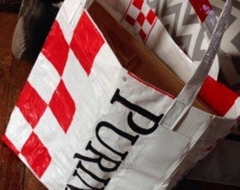 Upcycled purina shopping bags