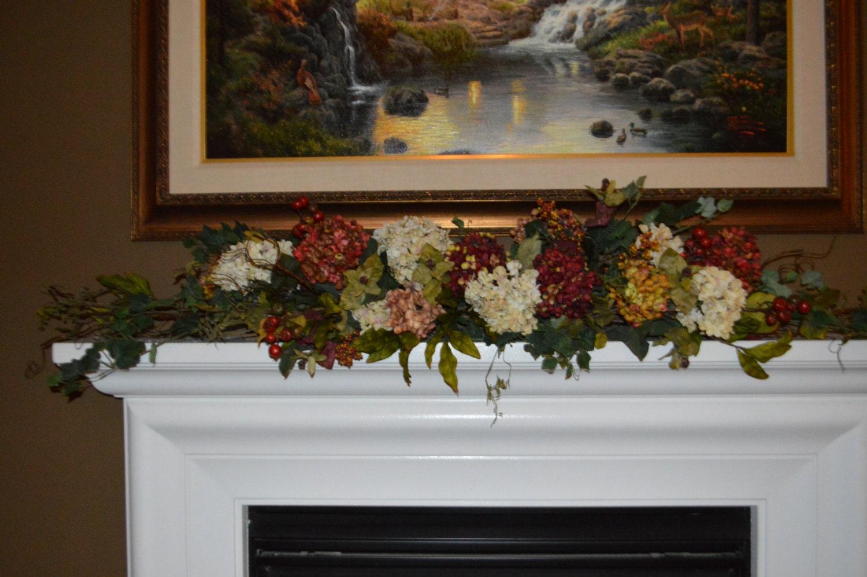 fireplace flowers hydrangea garland mantle garland