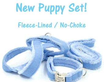 No-Choke, Fleece-Lined Dog Harness, Collar and Leash Set for Small Dogs, Chihuahua, Yorkie, Maltese, Poodle,