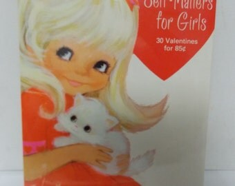 Vintage Hallmark Valentine Self Mailers for Girls New/ Old Stock 30 Cards USA 1960s-70s Era