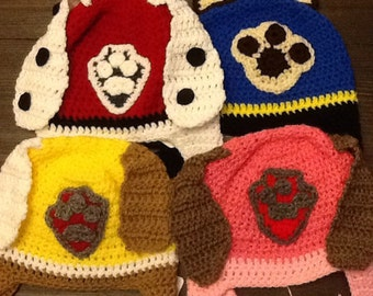 Paw patrol inspired hats, newborn-adult, made to order