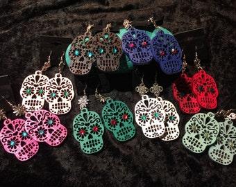 Day of the Dead Skull Wood Earrings