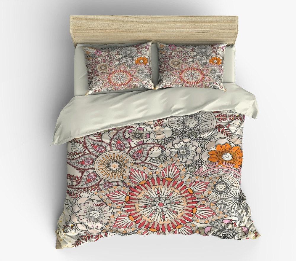 Boho Chic Bedding Duvet Cover Set Beige Floral by FolkandFunky
