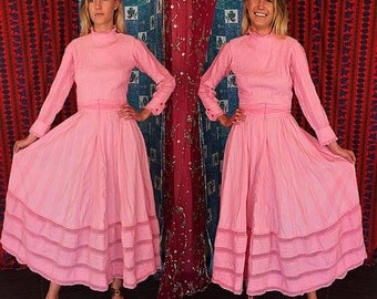 SPRINGFORWARD10 Vintage 70s Mexican Wedding Lace Dress S/M