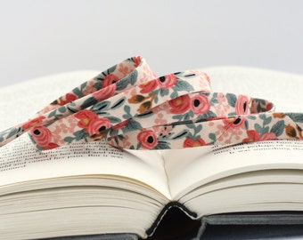 "1/2"" or 1"" Double Fold Bias Tape: Les Fleurs Rosa Peach, Cotton & Steel, Rifle Paper Co."