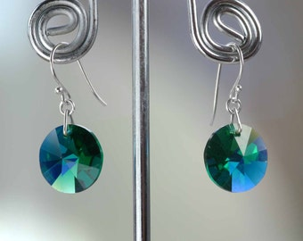 RARE Swarovski Crystal Earrings -New Sterling Silver Hook- Emerald AB