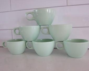 6 Vintage Arrowhead Silite Chicago Mint Green Melamine Melmac Cups Mugs