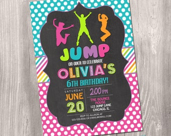 Jump invitation, bounce house invitation, jump birthday invitation, trampoline birthday invitation, digital, printable invitation