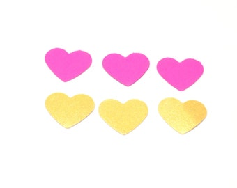 pink and gold heart confetti, confetti, party decor, wedding confetti, heart confetti