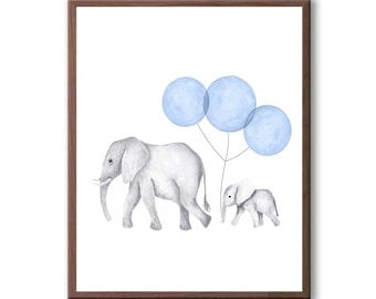 Art For Baby, Watercolor Painting, Elephant Art, Elephants, Kids Art, Elephant Nursery Art, Nursery Wall Decor, Art Print - E631W