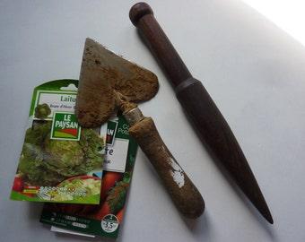 A homemade, vintage,French, hardwood dibber, garden tool, planter
