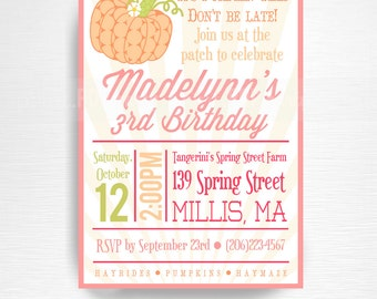 Fall Pumpkin Patch Birthday Party Printable Invitation YOU Print Peach Coral Orange Green Pink